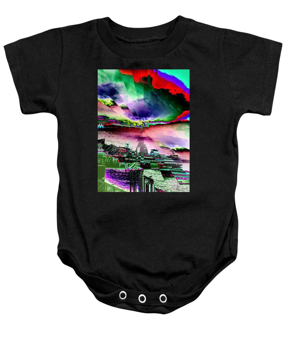 Seattle Baby Onesie featuring the digital art Ferry Illusion by Tim Allen