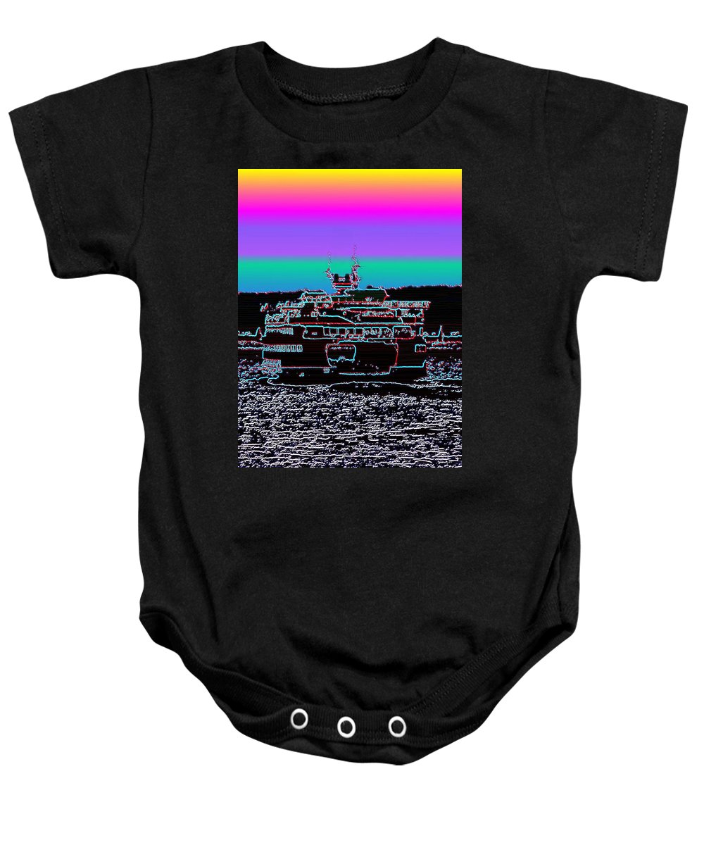 Seattle Baby Onesie featuring the photograph Ferry On Elliott Bay 4 by Tim Allen