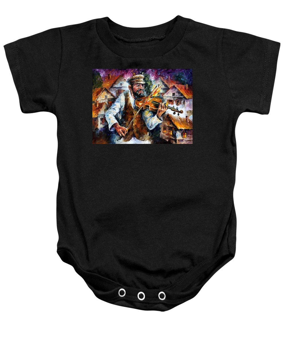Judiac Baby Onesie featuring the painting Fiddler From The Sky by Leonid Afremov