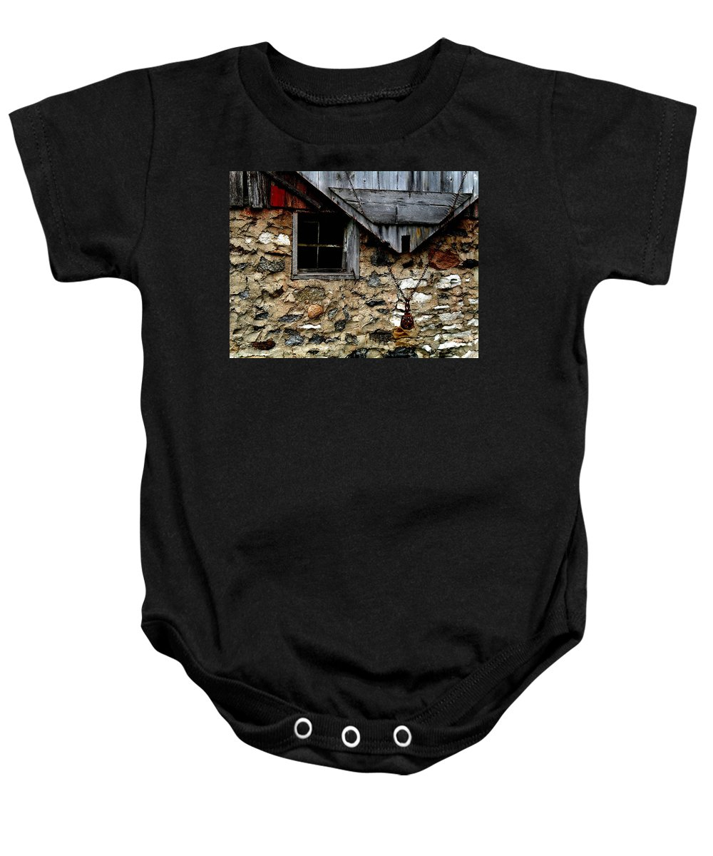 Barn Baby Onesie featuring the photograph Field Stone Barn by Julie Hamilton