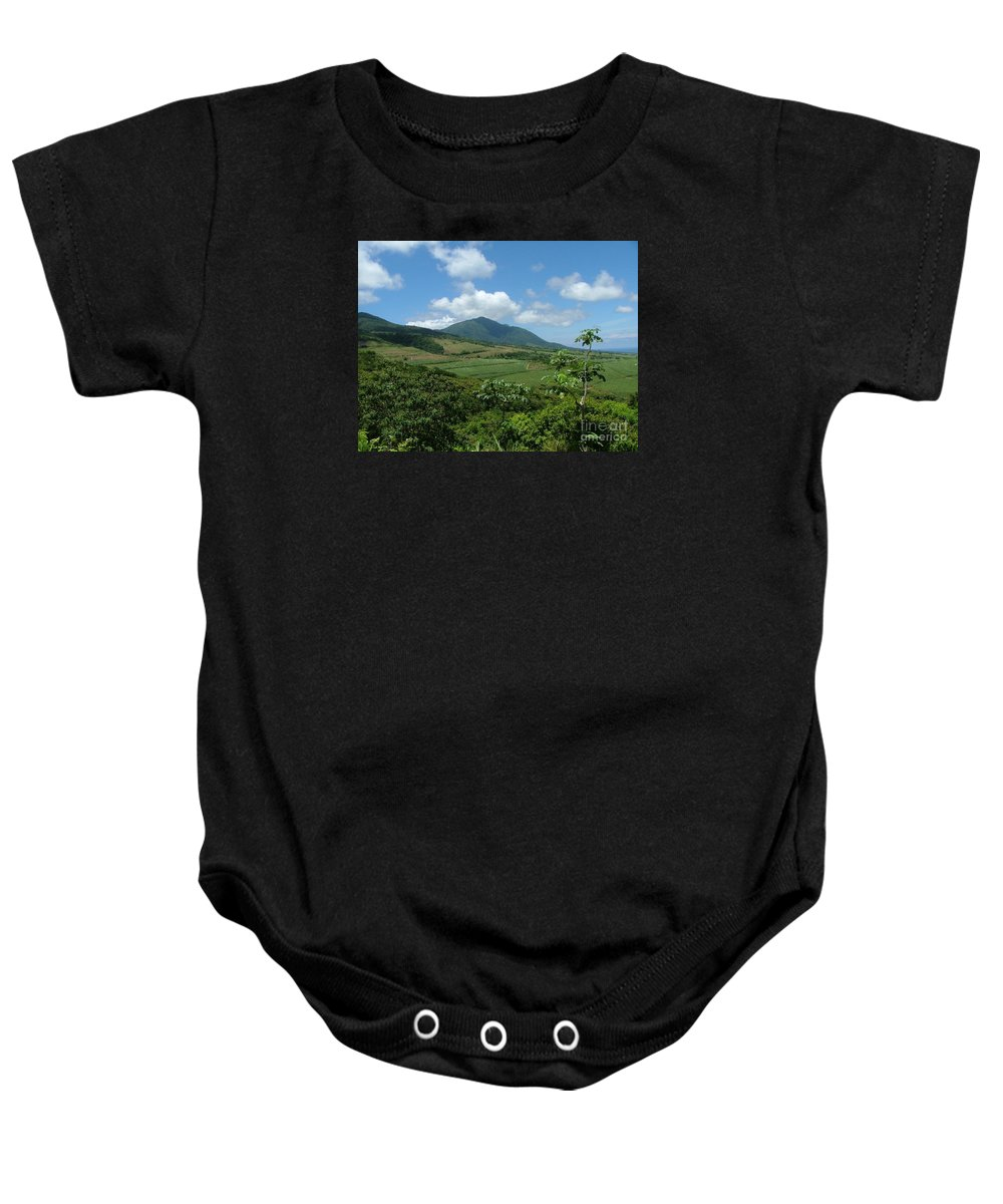 Surgar Cane Baby Onesie featuring the photograph St. Kitts Fields Of Cane by Neil Zimmerman