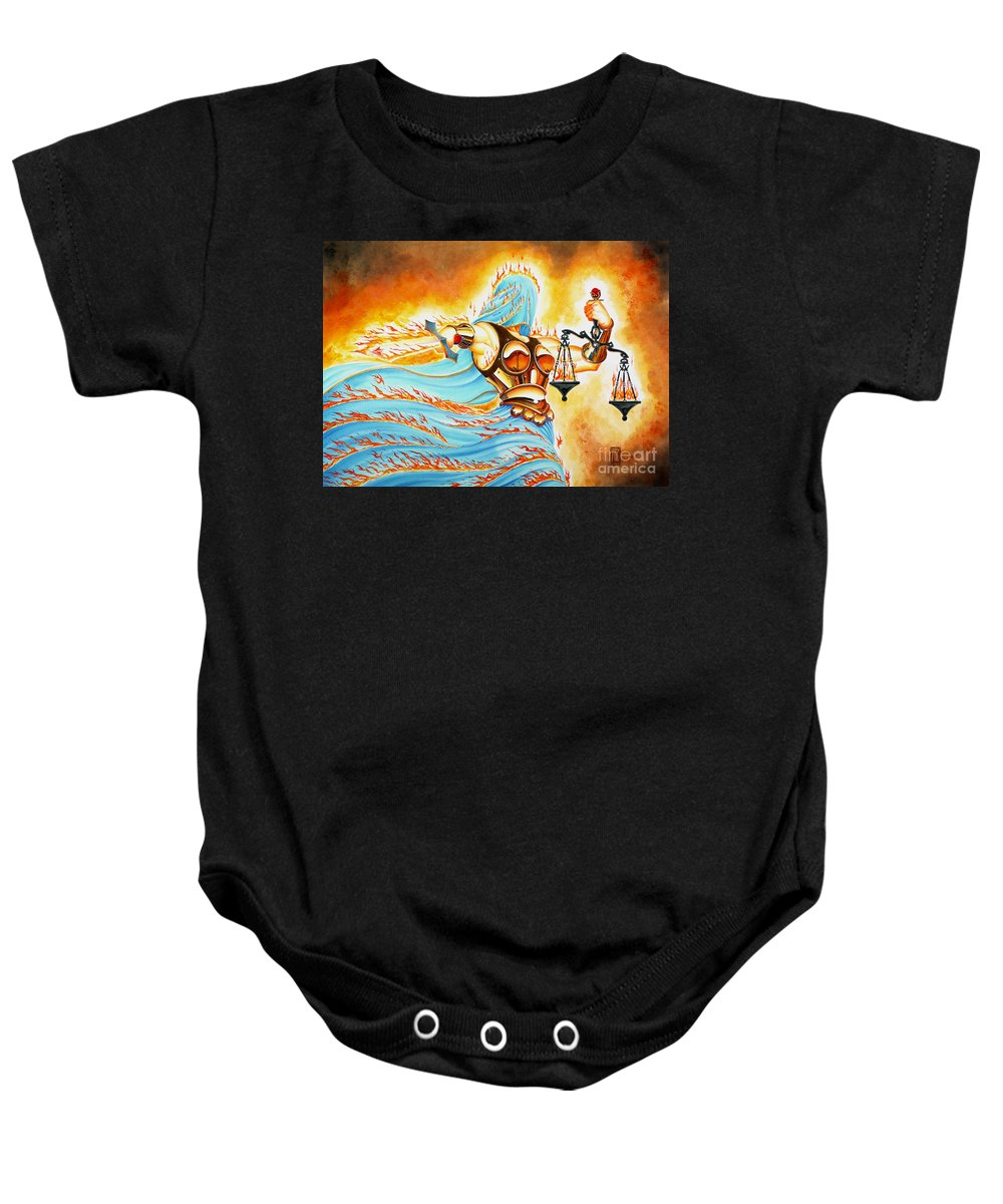 Fantasy Baby Onesie featuring the drawing Fiery Justice by Melissa A Benson