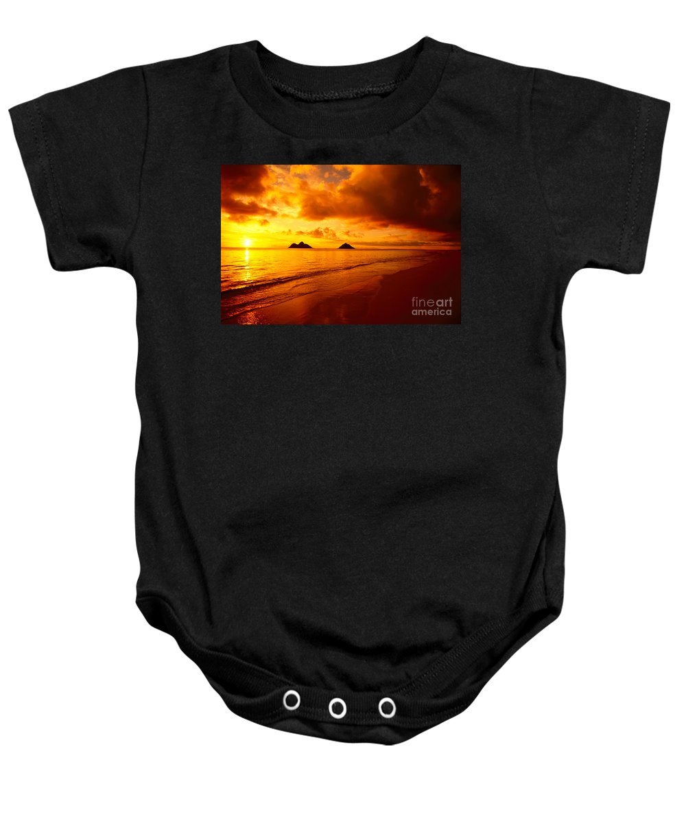 Beach Baby Onesie featuring the photograph Fiery Lanikai Beach by Dana Edmunds - Printscapes