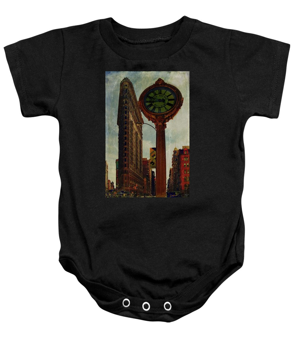 Fifth Avenue Baby Onesie featuring the photograph Fifth Avenue Clock And The Flatiron Building by Chris Lord
