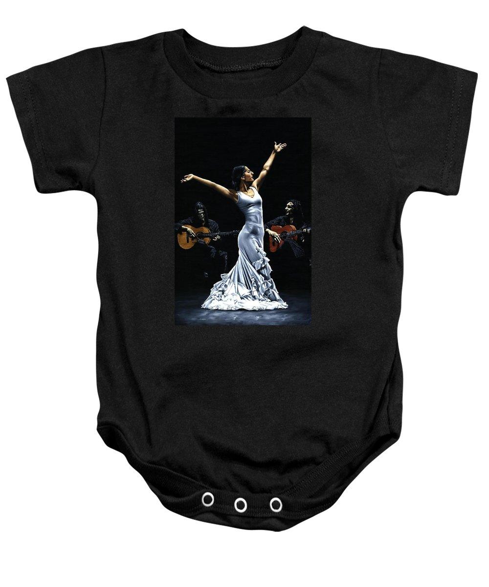 Flamenco Baby Onesie featuring the painting Finale Del Funcionamiento Del Flamenco by Richard Young