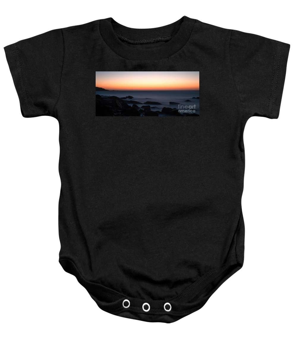 Fine Art By Phill Potter - Sunset On The Water Baby Onesie featuring the photograph Fine Art - Sunset On The Water by Jenny Potter