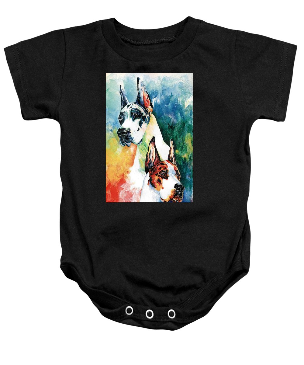 Great Dane Baby Onesie featuring the painting Fire And Ice by Kathleen Sepulveda