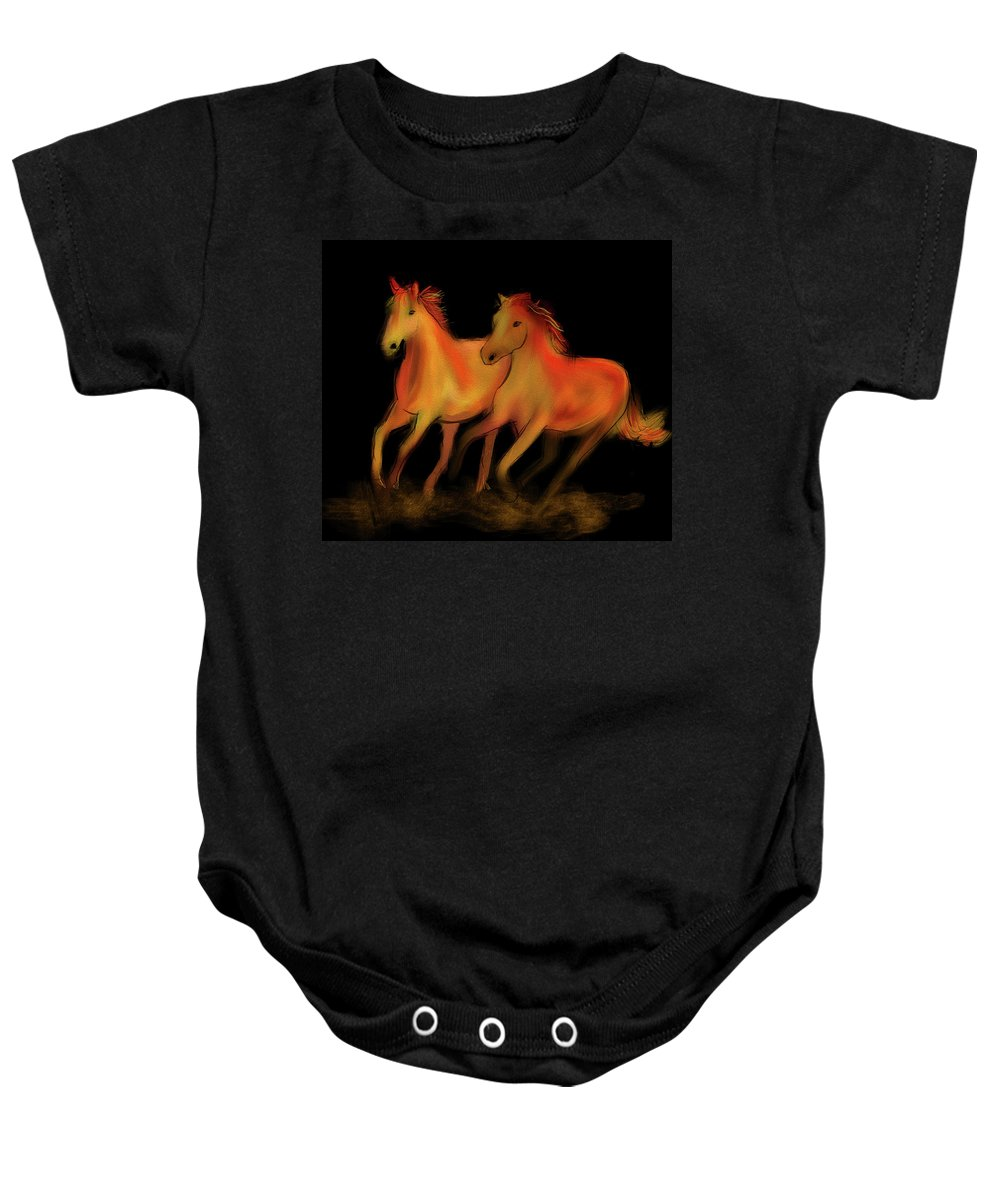 Horses Baby Onesie featuring the digital art Fire Horses by Chris Lovell