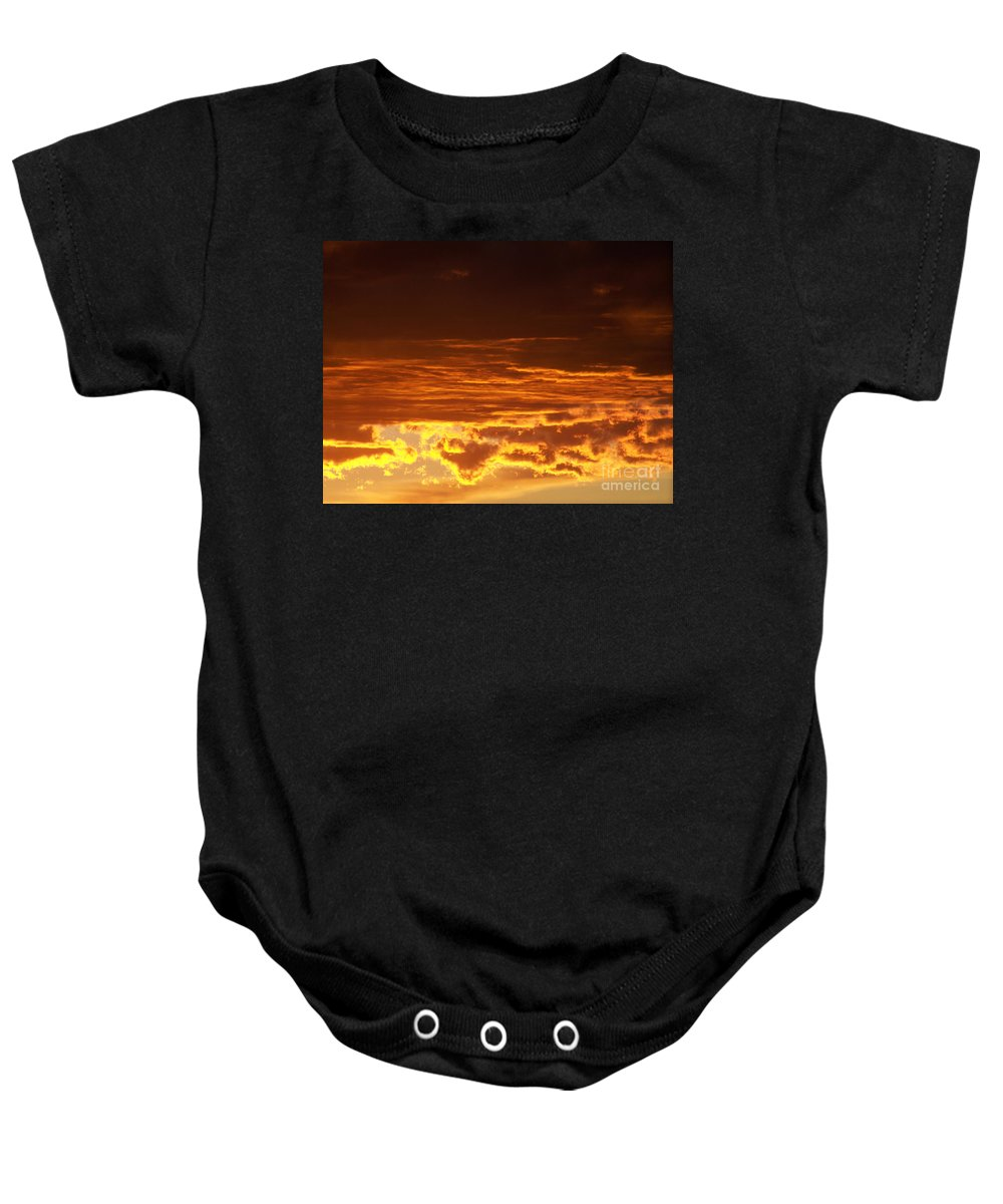 Sky Baby Onesie featuring the photograph Fire In The Sky 2 by Brian Commerford
