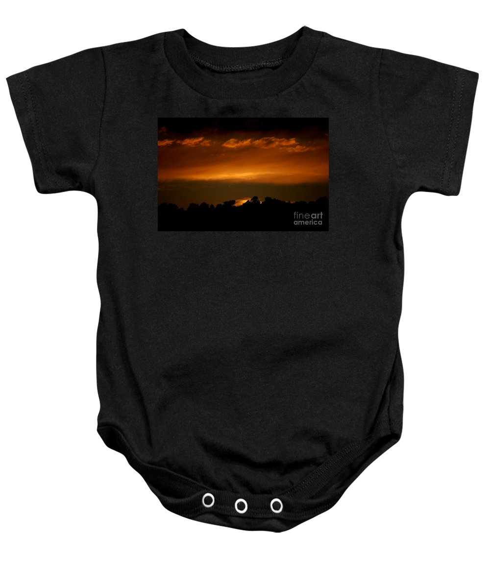 Digital Photo Baby Onesie featuring the photograph Fire In The Sky by David Lane