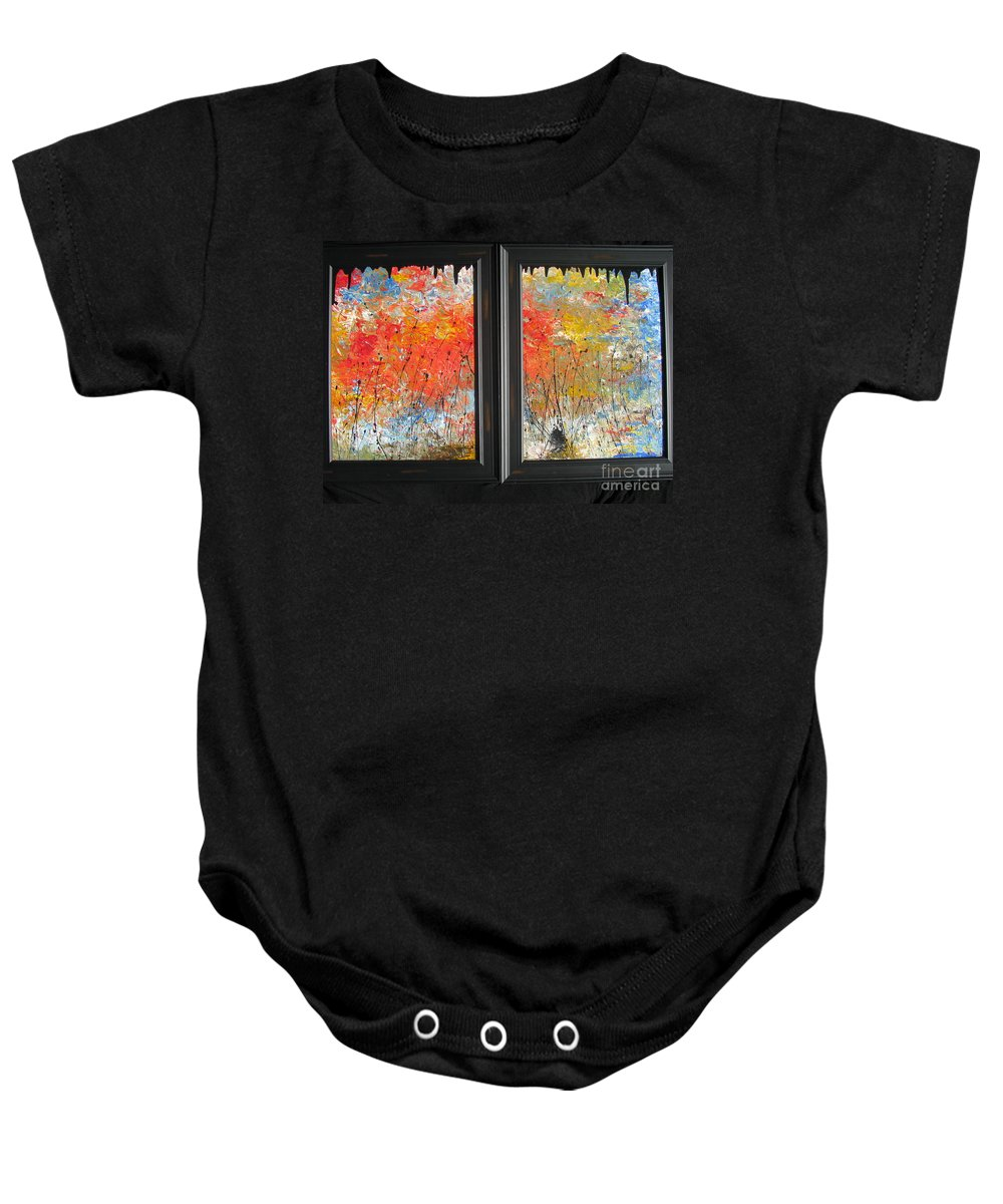 Fire Baby Onesie featuring the painting Fire On The Prairie by Jacqueline Athmann