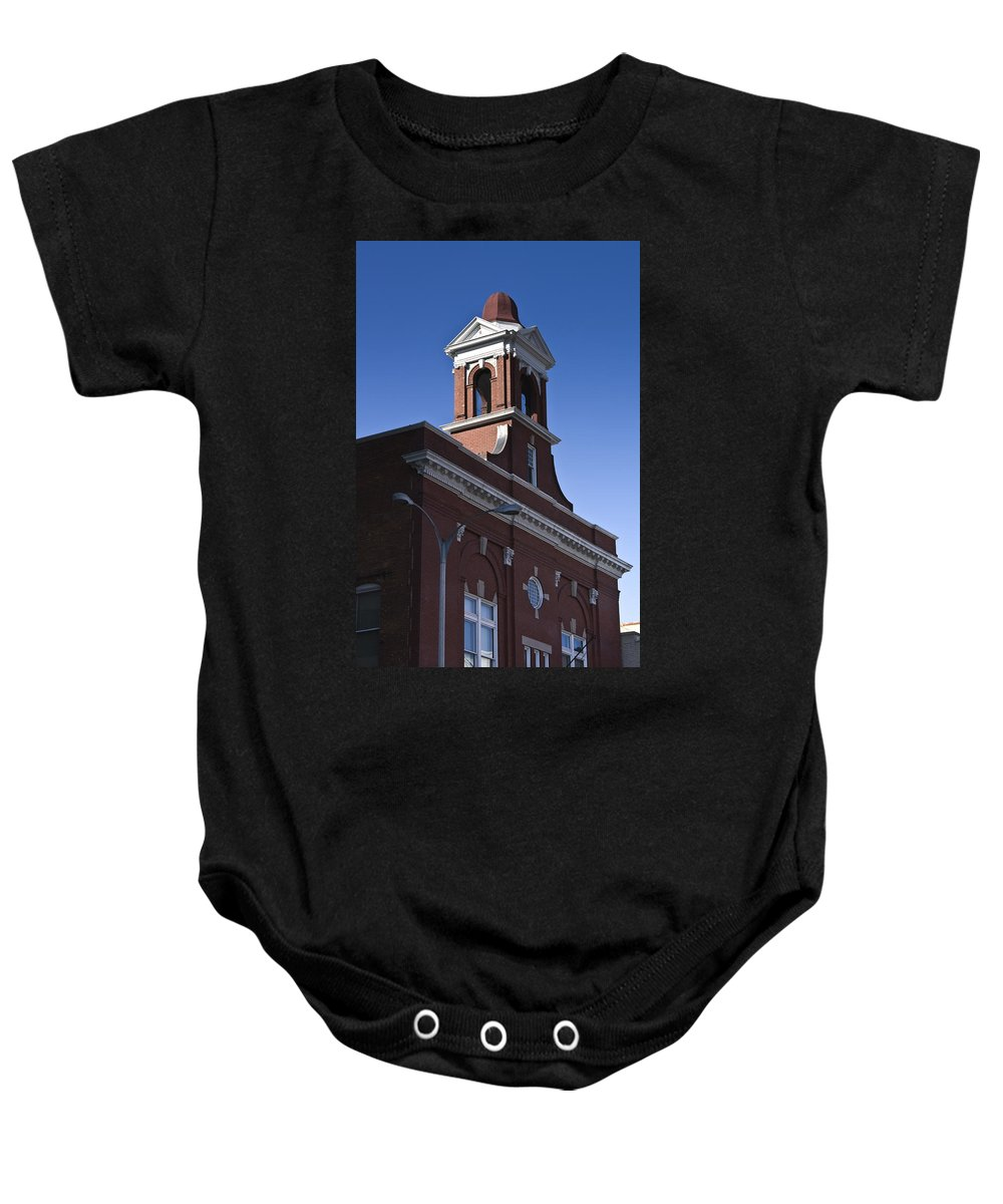 Roanoke Baby Onesie featuring the photograph Fire Station No 1 Roanoke Virginia by Teresa Mucha