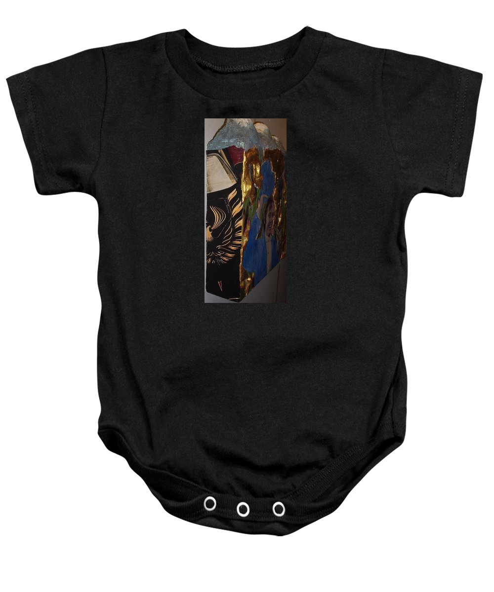 The Pontiac Firebird Automobile General Motors Black Special Edition 'bandit' Edition 1977 Trans-am Famous Featured In Smokey And The Bandit. In Greek Mythology Baby Onesie featuring the mixed media Firebird by William Douglas