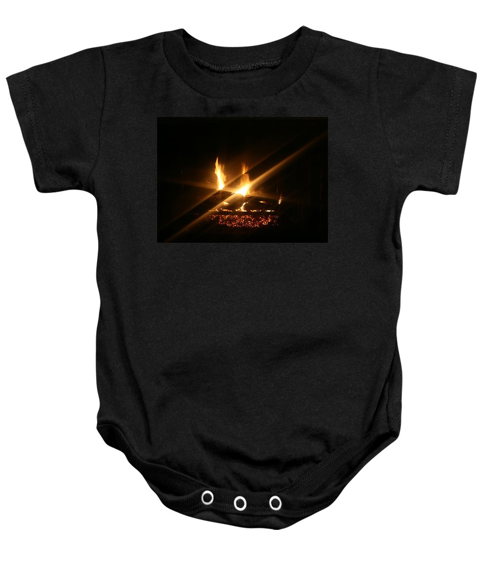 Fireplace Baby Onesie featuring the photograph Fireplace by Ellen Henneke