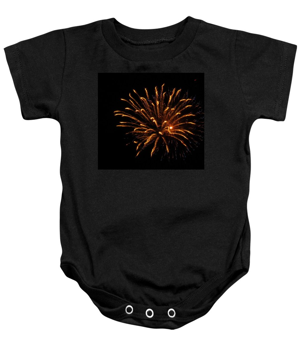 Fireworks Baby Onesie featuring the photograph Firework Golden Lights by Adrienne Wilson