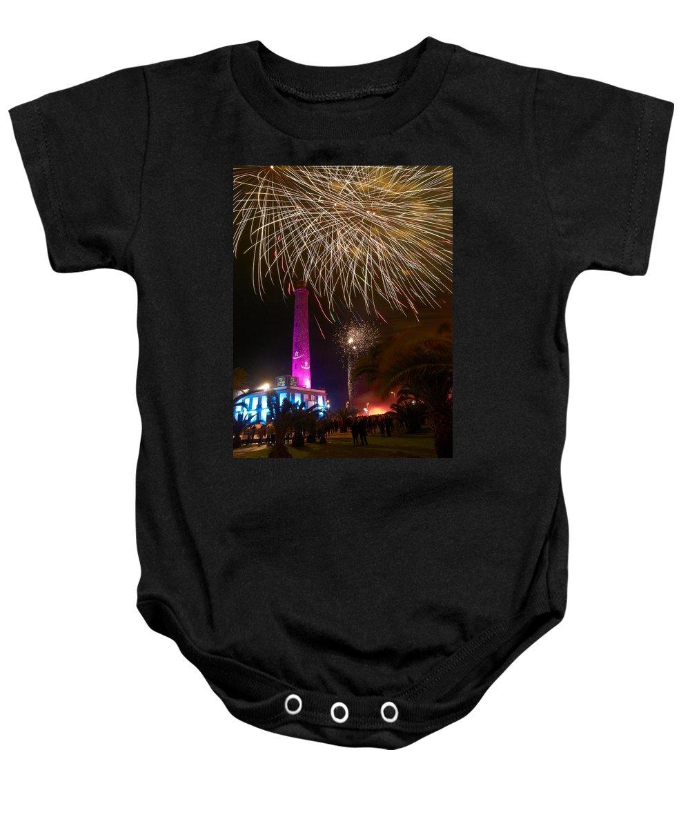 Lehtokukka Baby Onesie featuring the photograph Fireworks At Maspalomas 1 by Jouko Lehto