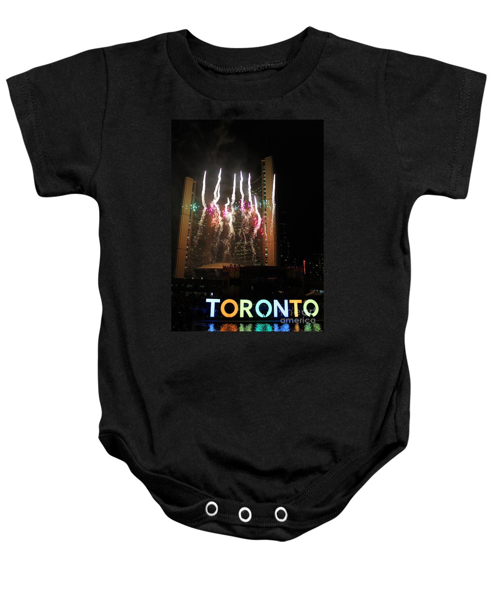 Toronto Baby Onesie featuring the photograph Fireworks At Toronto City Hall by Nina Silver
