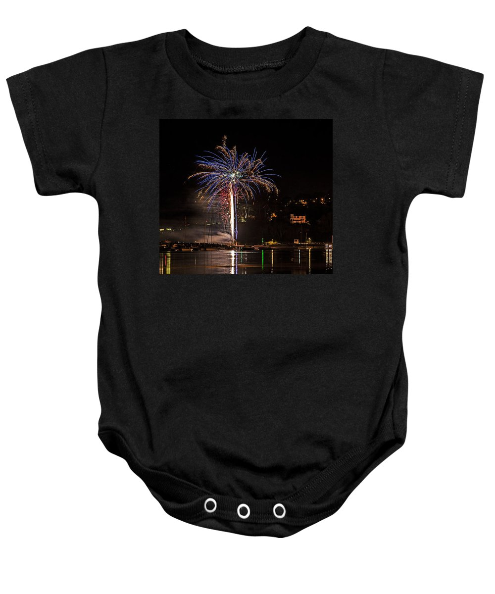 Fire Baby Onesie featuring the photograph Fireworks Shaldon 2015 by Sebastien Coell