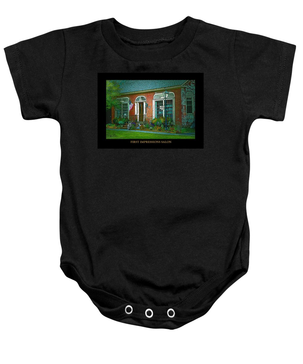 Woodstock Vermont Baby Onesie featuring the photograph First Impressions Salon In Woodstock Vermont by Nancy Griswold