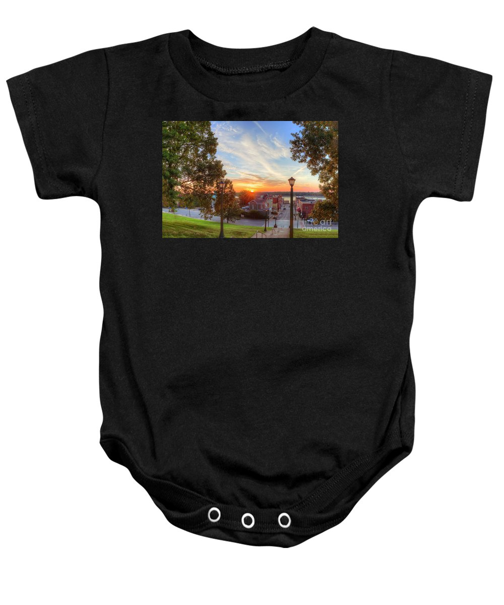Observing Baby Onesie featuring the photograph First Light by Larry Braun
