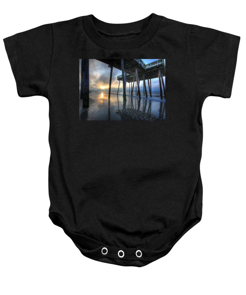 Ocean City Baby Onesie featuring the photograph First Light by Lori Deiter