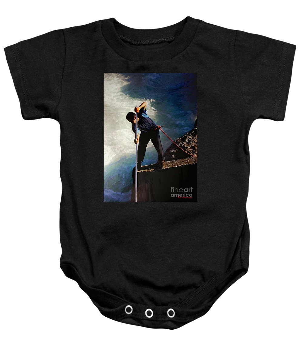 Fishing Baby Onesie featuring the painting First Nation Fisherman by RC DeWinter