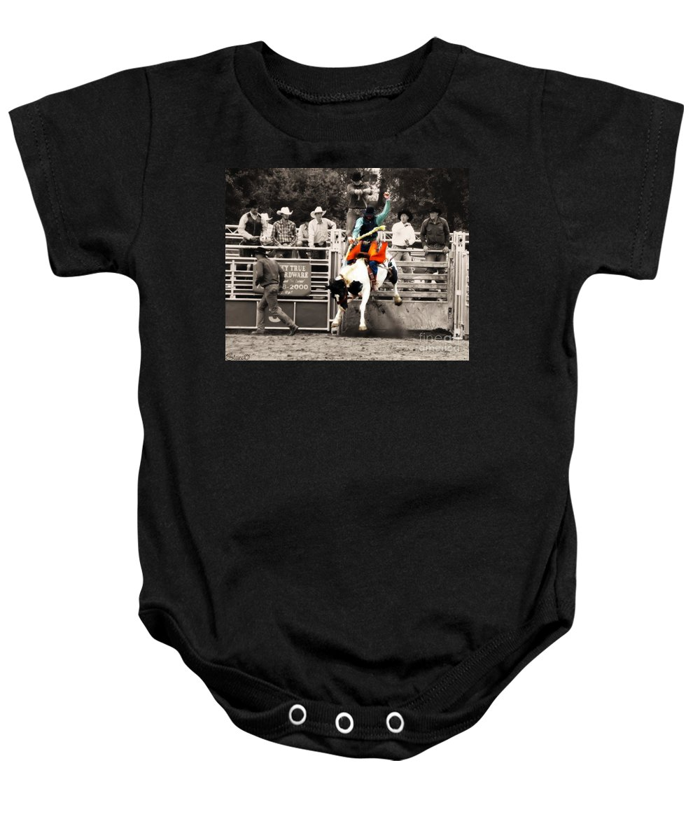 Cowboy Baby Onesie featuring the photograph First Out Of The Chute by September Stone