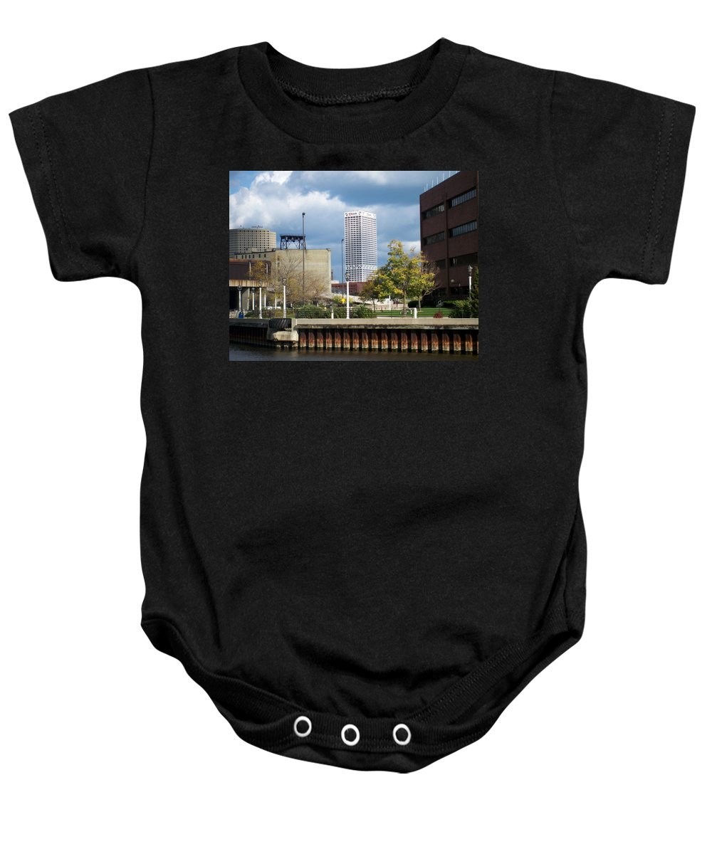 First Star Bank Baby Onesie featuring the photograph First Star View From River by Anita Burgermeister