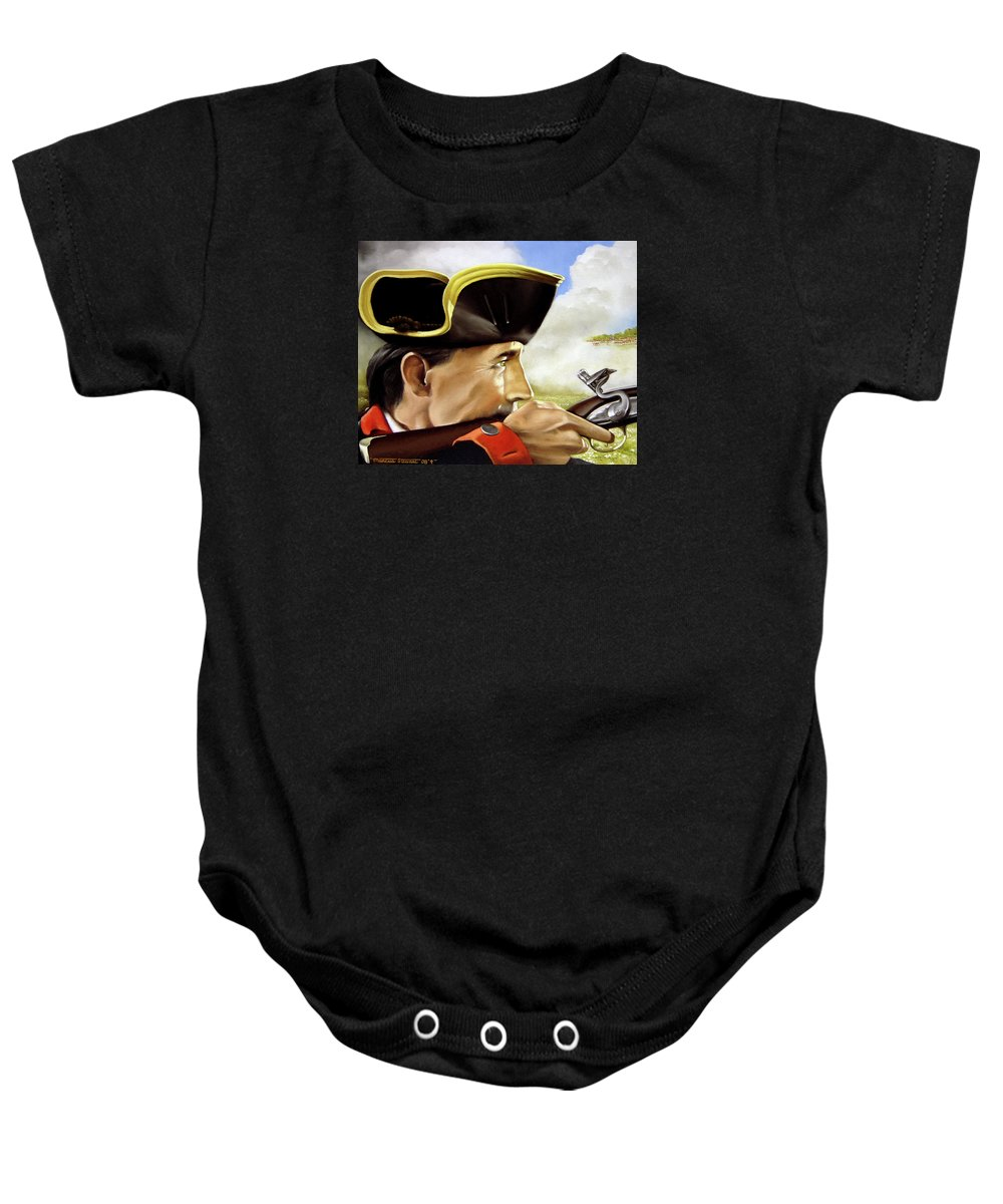 Continental Baby Onesie featuring the painting First To Fight by Marc Stewart