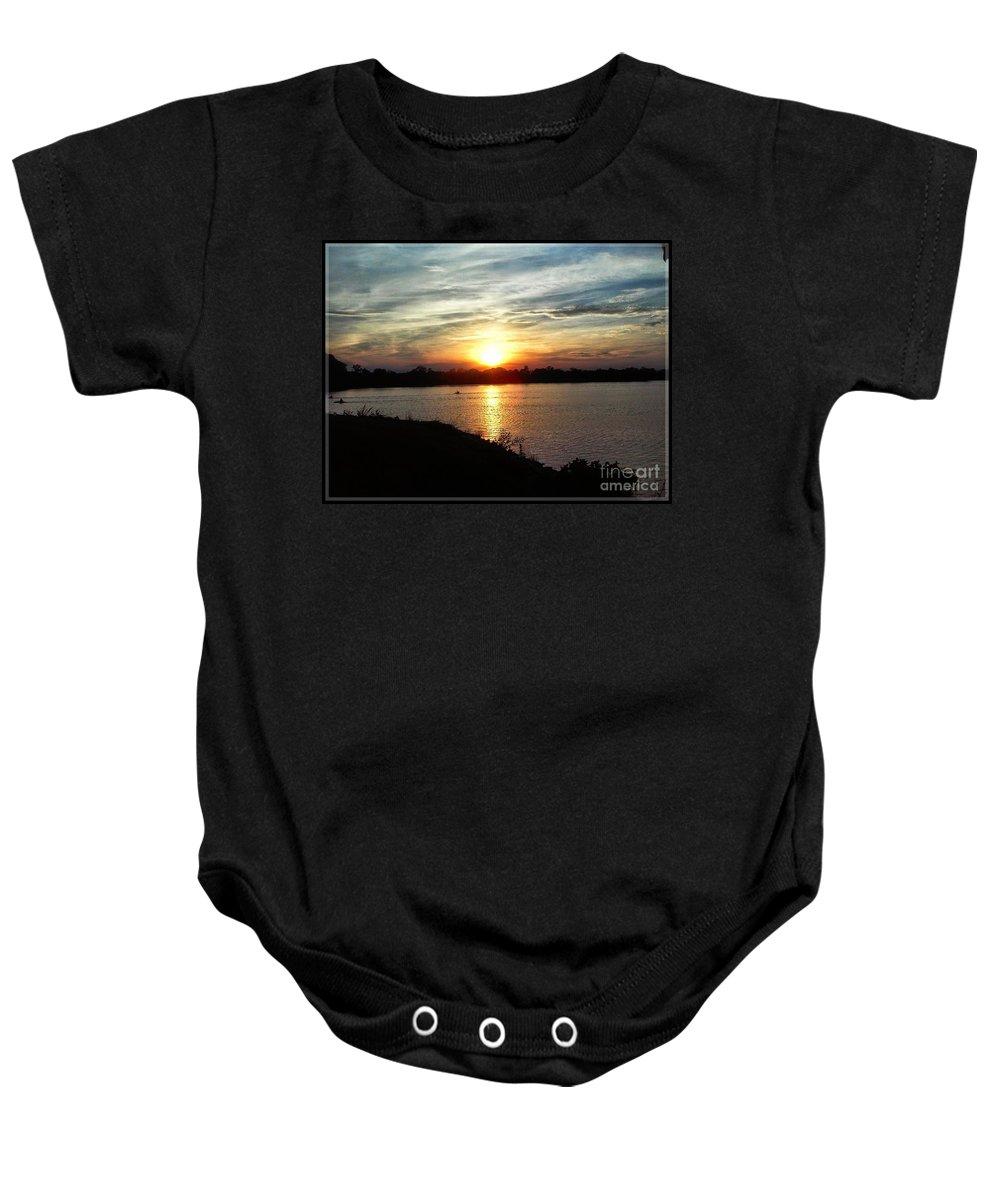 Fisherman's Baby Onesie featuring the painting Fisherman's Sunset Horizon by PrettTea Art Gallery By Teaya Simms