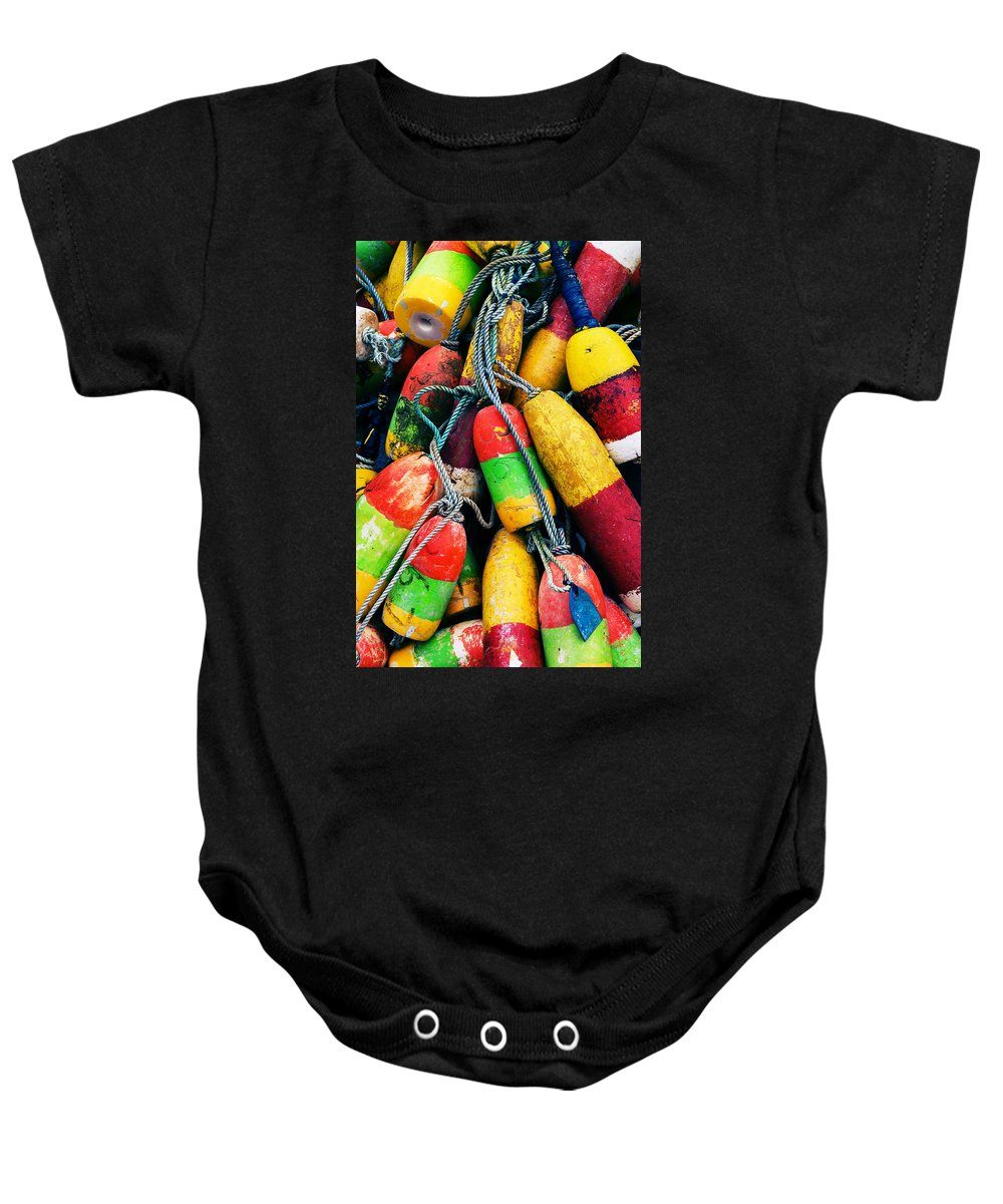 Colorful Baby Onesie featuring the photograph Fishermen's Floats by Renee Hong