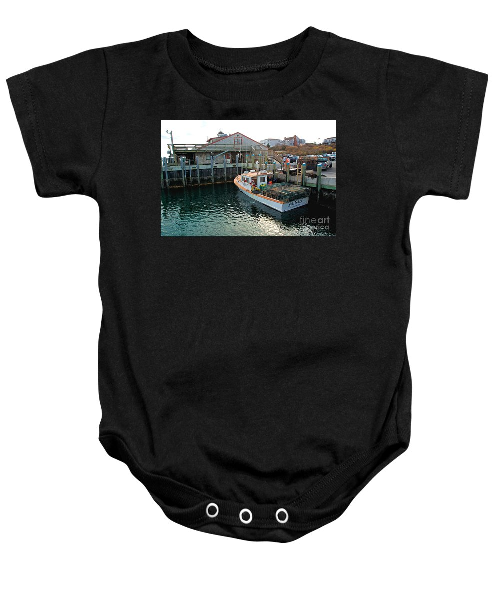 Fish Pier Baby Onesie featuring the photograph Fishing Boat At Chatham Fish Pier by Matt Suess