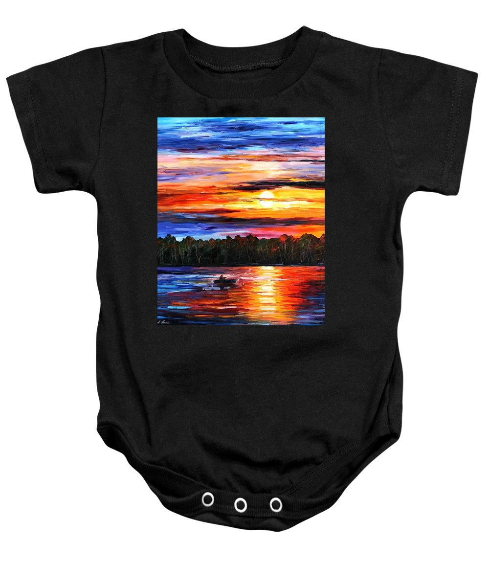 Seascape Baby Onesie featuring the painting Fishing By The Sunset by Leonid Afremov