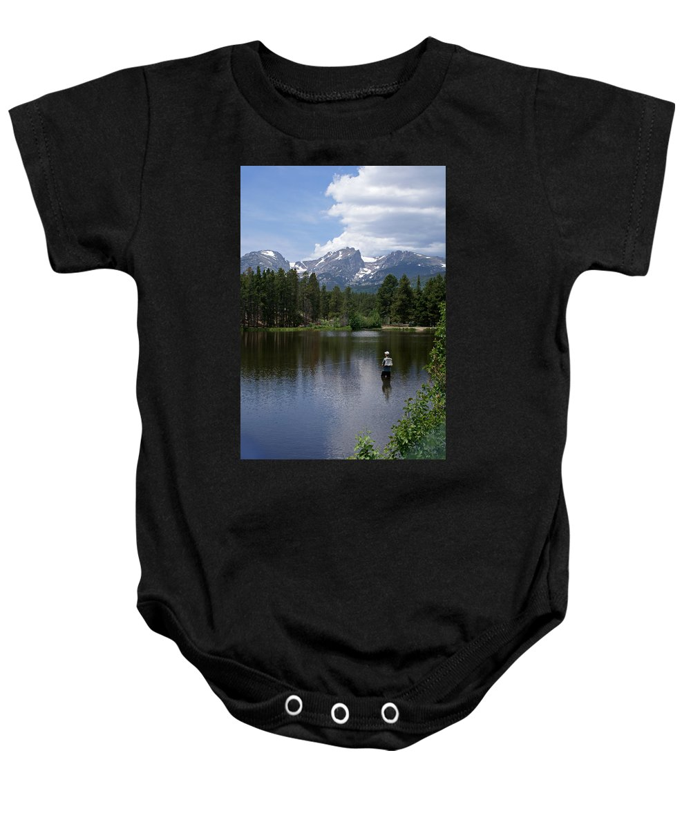 Fishing Baby Onesie featuring the photograph Fishing In Colorado by Heather Coen