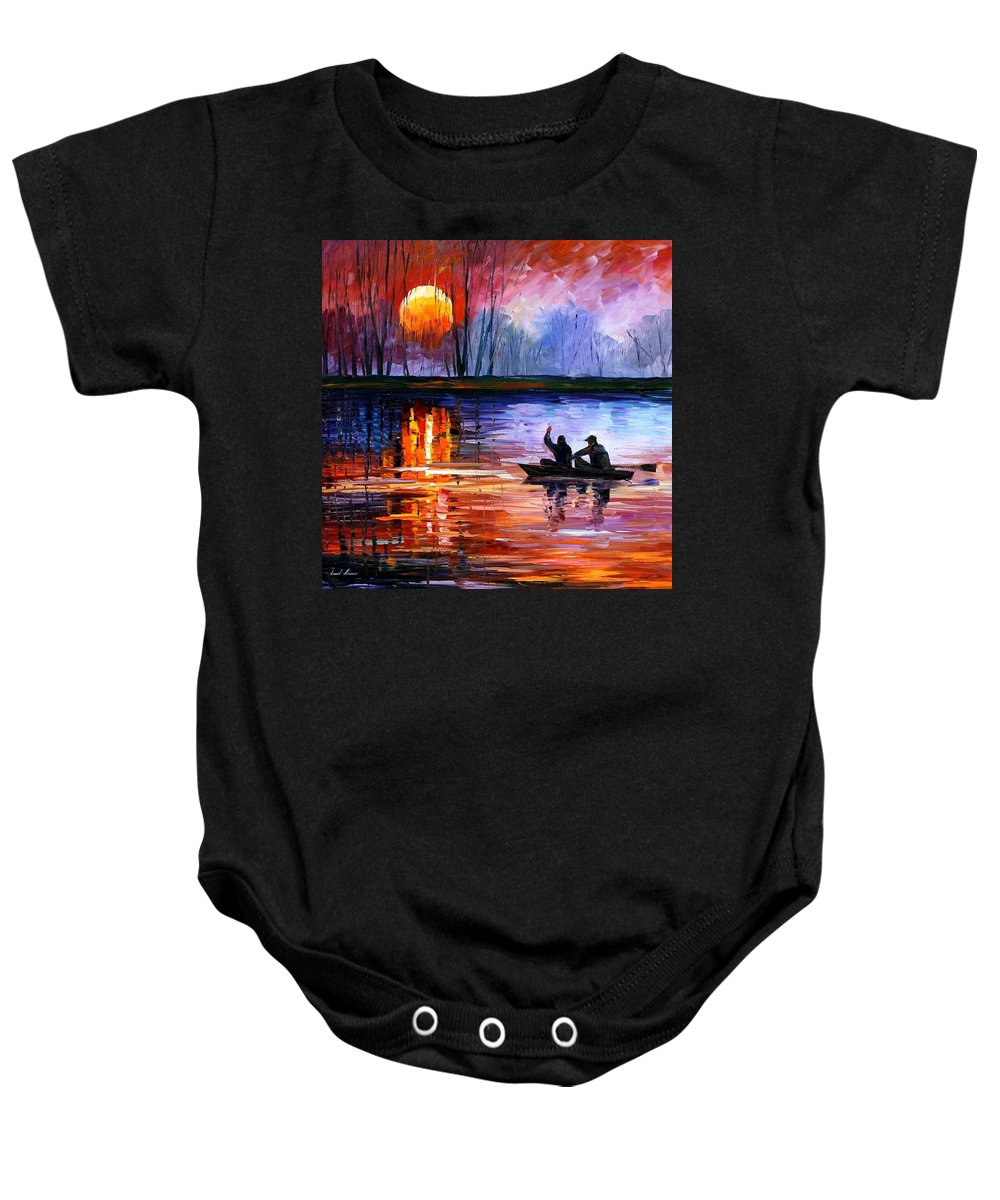 Seascape Baby Onesie featuring the painting Fishing On The Lake by Leonid Afremov