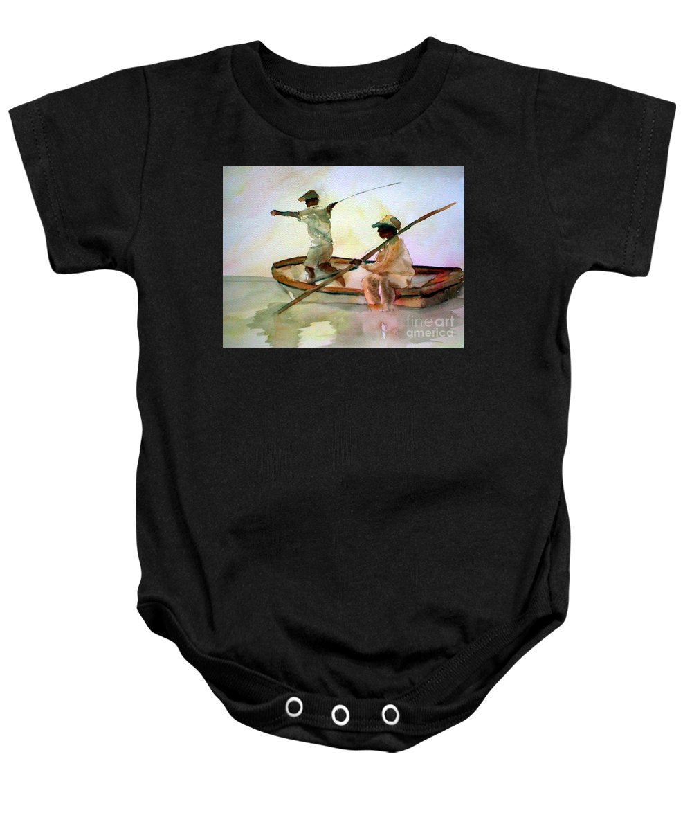 Fishing Baby Onesie featuring the painting Fishing by Rhonda Hancock