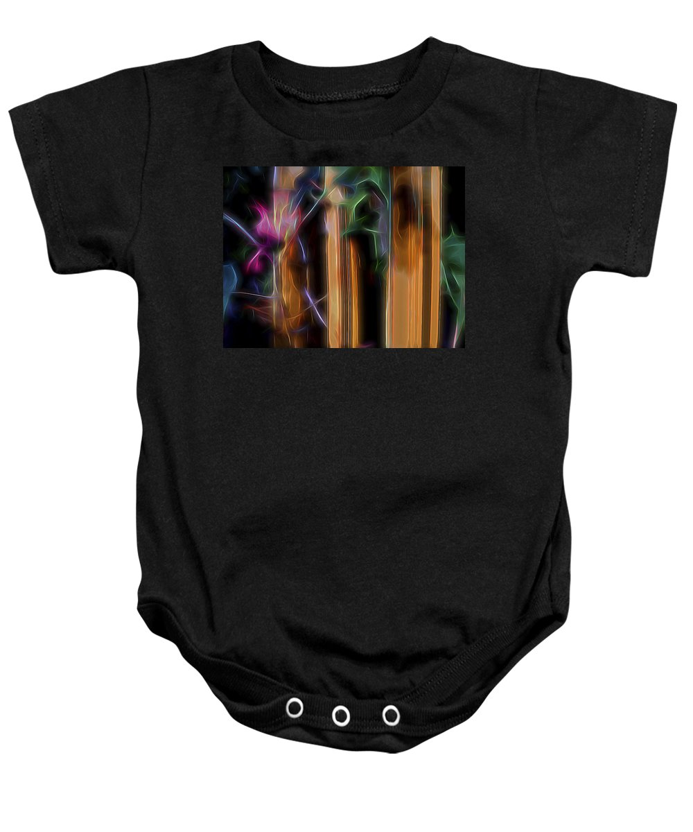 Nature Baby Onesie featuring the digital art Flame Flower And Bamboo by William Horden