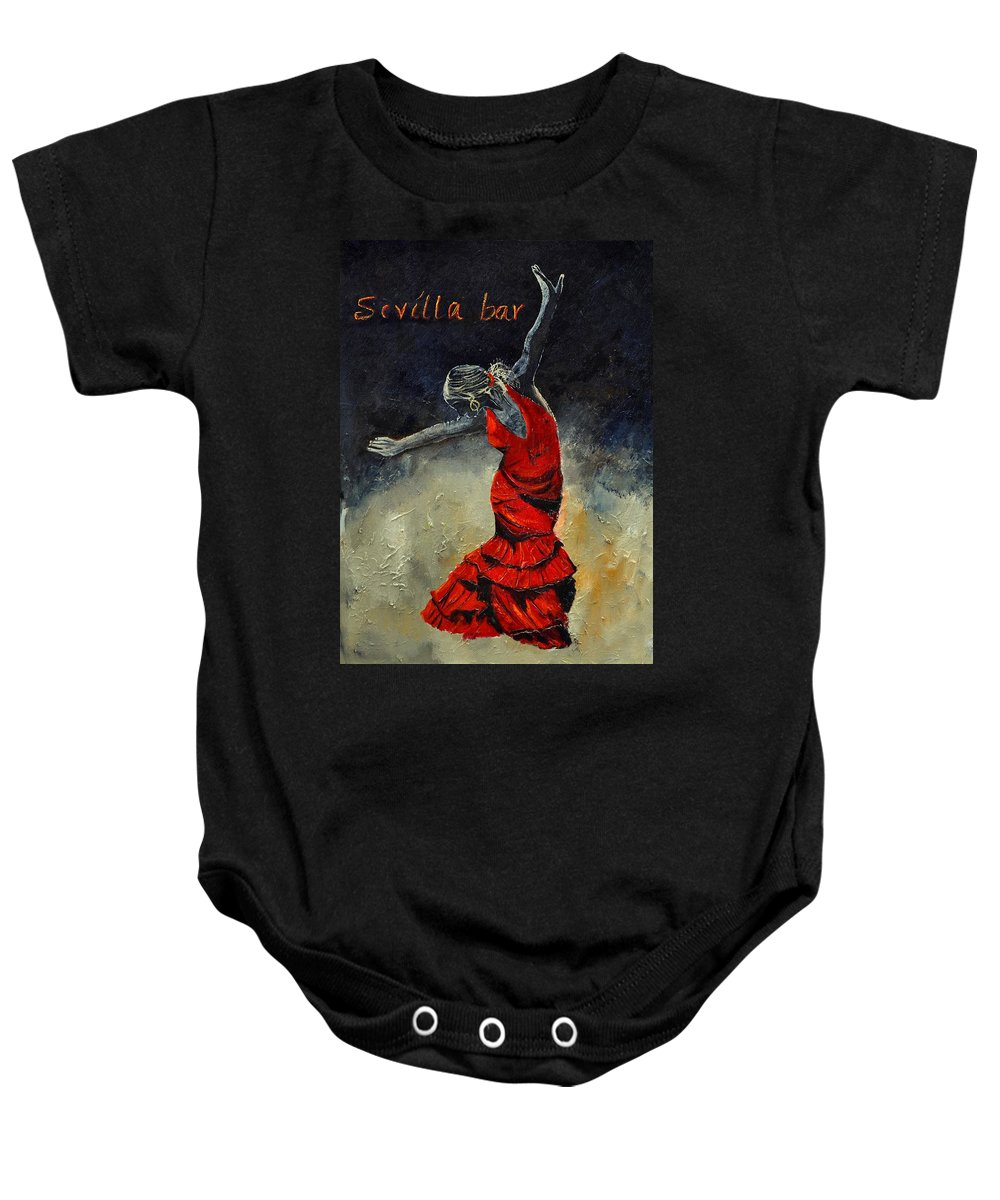 Flamenco Baby Onesie featuring the painting Flamenco 18 by Pol Ledent