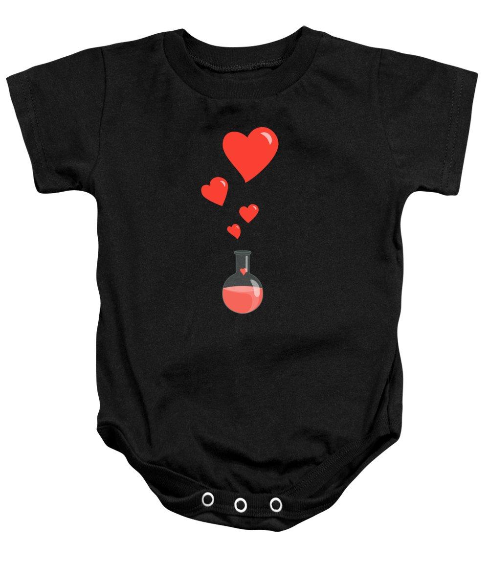 Geek Valentine Baby Onesie featuring the digital art Flask of Hearts by Boriana Giormova