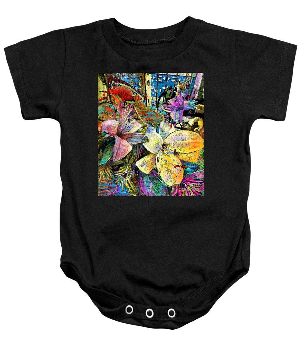 Fleurs De Lys Painting Baby Onesie featuring the painting Fleurs De Lys 02 by Miki De Goodaboom