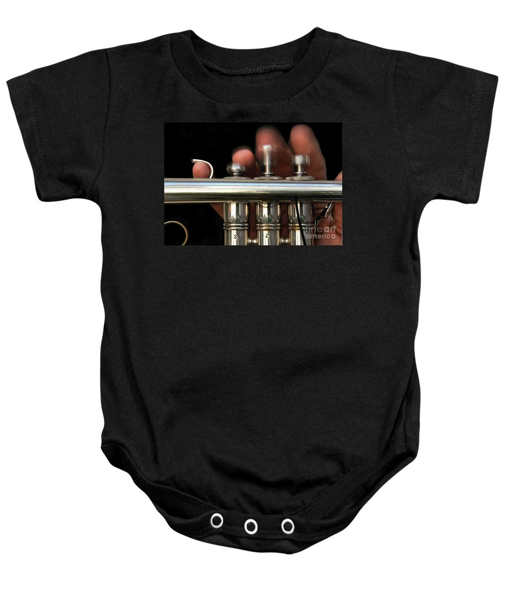 Trumpet Baby Onesie featuring the photograph Flight Of The Bumblebee by Dan Holm