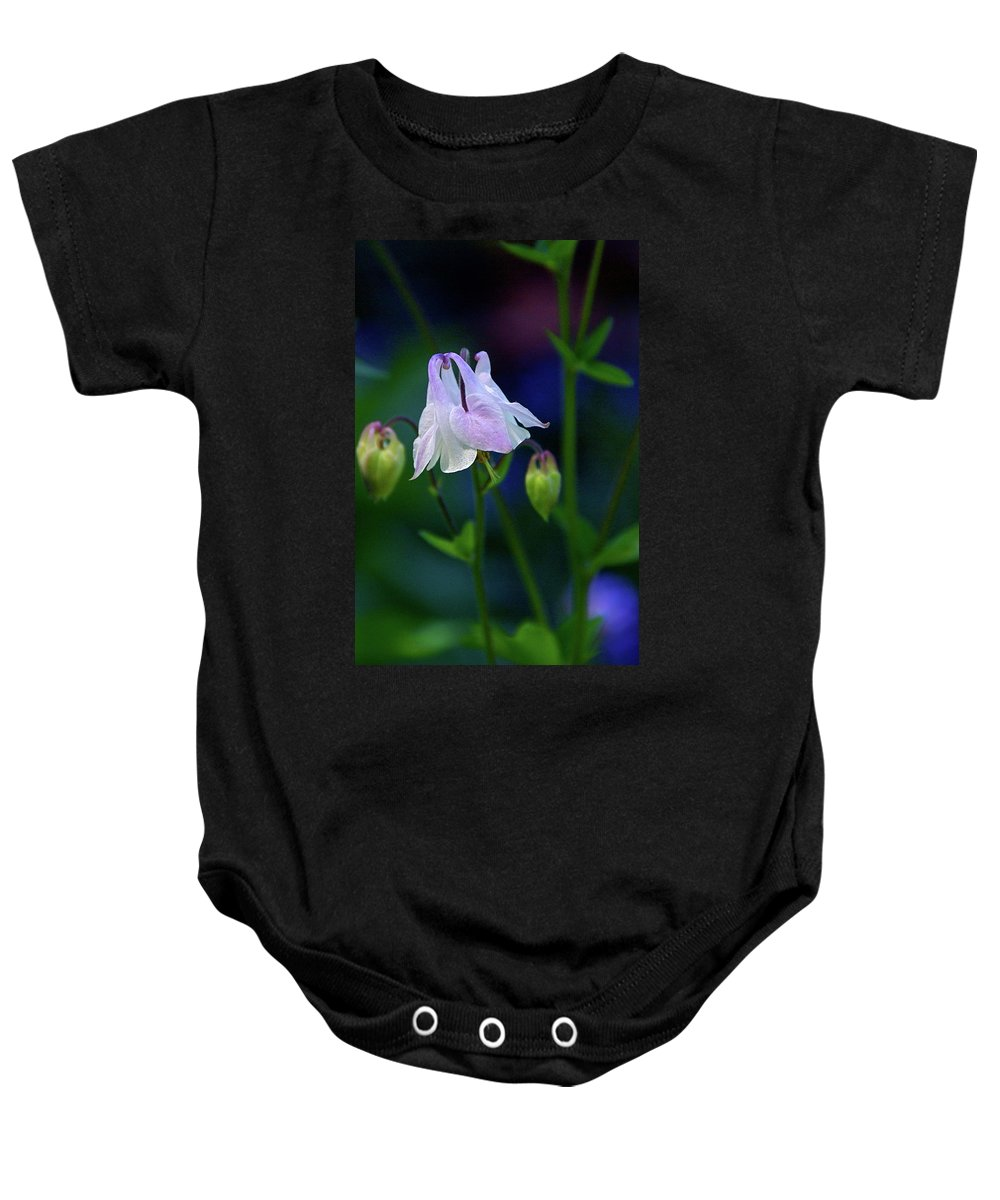 Columbine Baby Onesie featuring the photograph Floral Birds by Byron Varvarigos