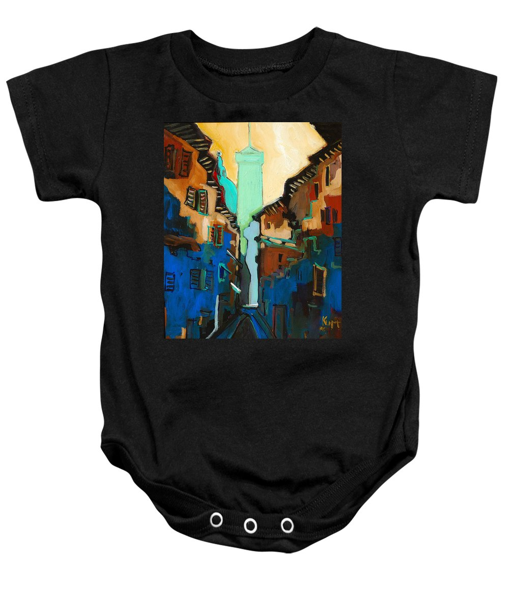 Florence Baby Onesie featuring the painting Florence Street Study by Kurt Hausmann