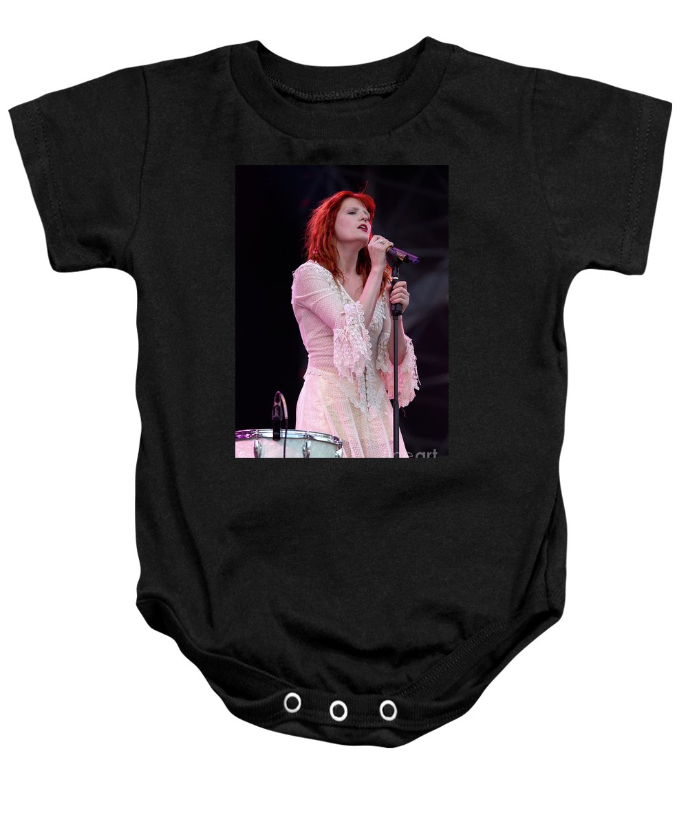 Florence Baby Onesie featuring the photograph Florence Welch Singer Of Florence And The Machine Performing Live - 002 by Olivier Parent