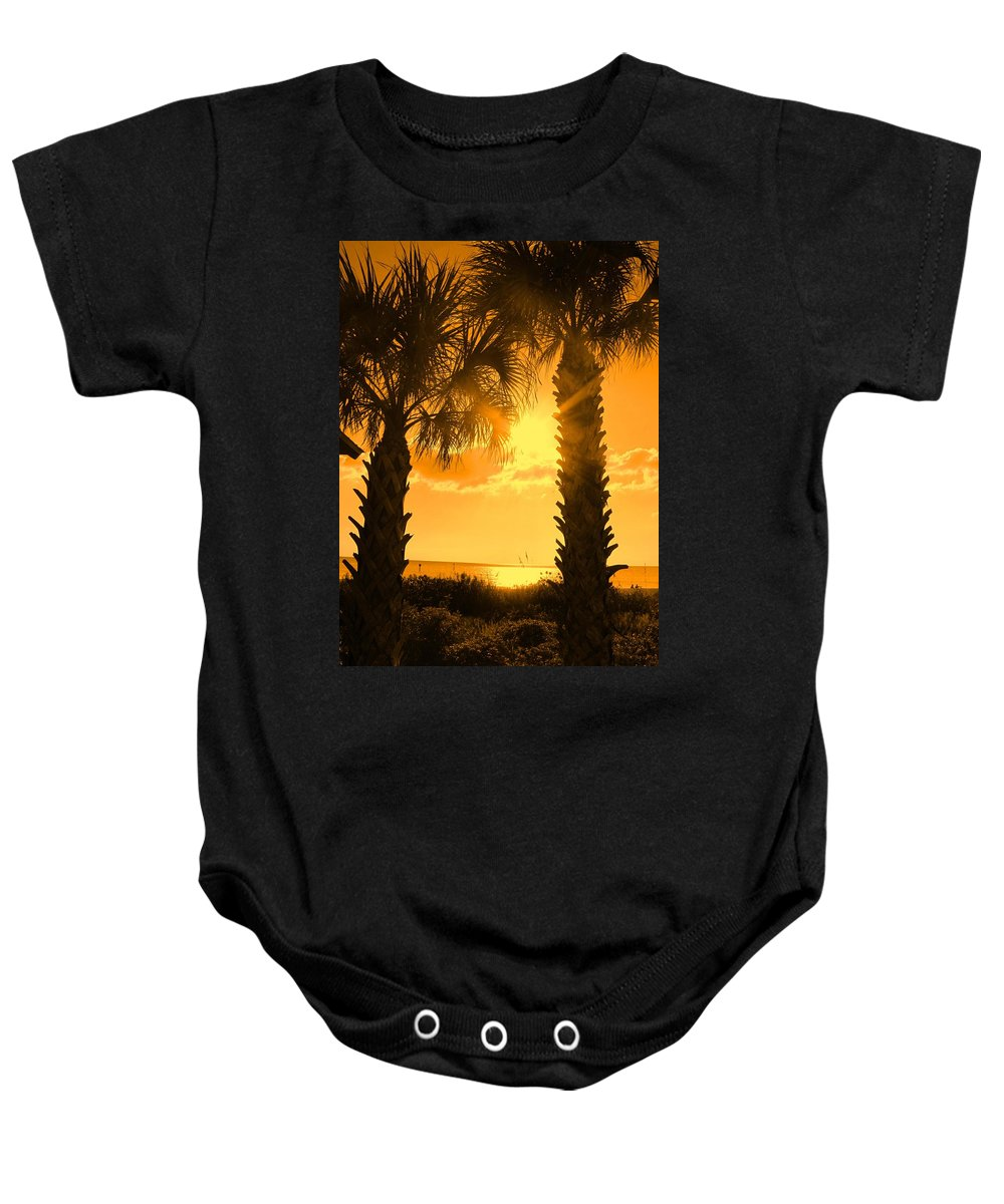Palm Baby Onesie featuring the photograph Florida Orange by Ian MacDonald