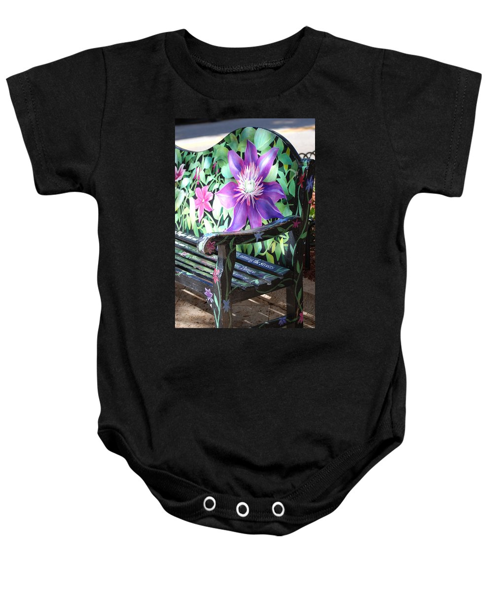 Macro Baby Onesie featuring the photograph Flower Bench by Rob Hans