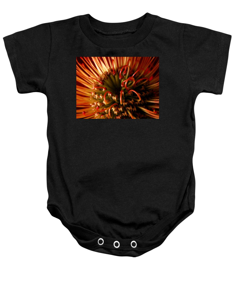 Protea Baby Onesie featuring the photograph Flower Hawaiian Protea by Nancy Griswold