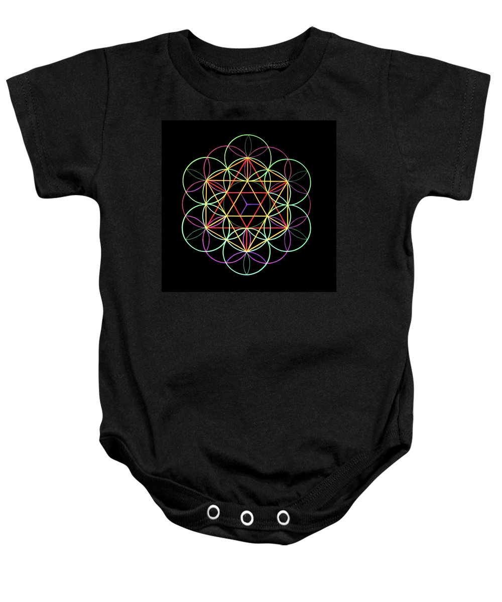 3d Baby Onesie featuring the painting Flower Of Life by Heather Crowther