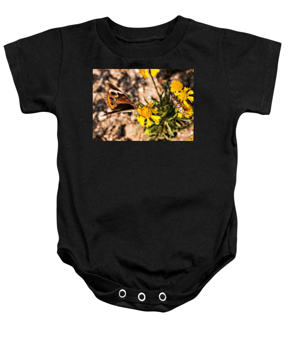 Butterfly Baby Onesie featuring the photograph Flower Power Bug And Butterfly by Gary Adkins