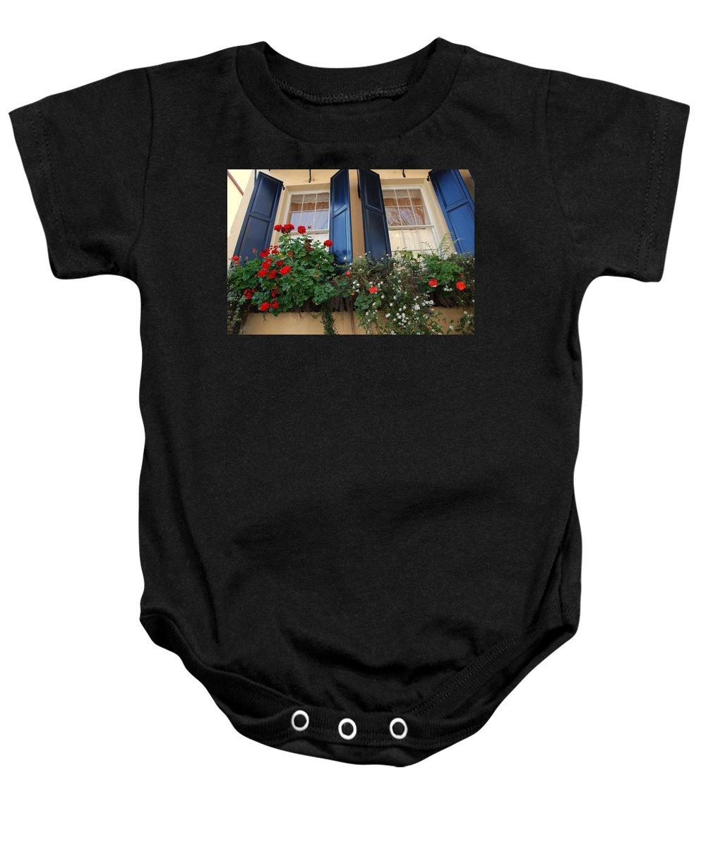Window Baby Onesie featuring the photograph Flower Window In Charleston Sc by Susanne Van Hulst